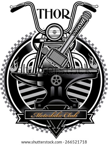 American vintage motorcycle label Thor's Hammer  - stock vector