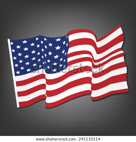 American waving flag vector icon, national symbol, red, white and blue with stars, grey background
