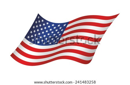 American waving flag, vector illustration - stock vector