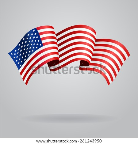 American waving Flag. Vector illustration Eps 8. - stock vector