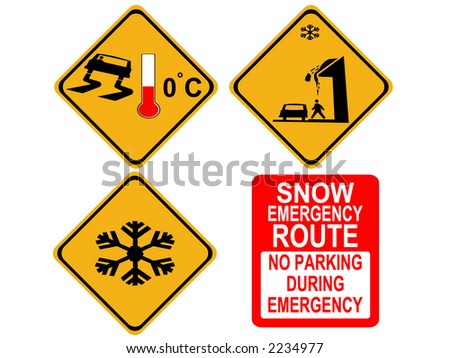 American winter warning signs icy roads and falling snow - stock vector