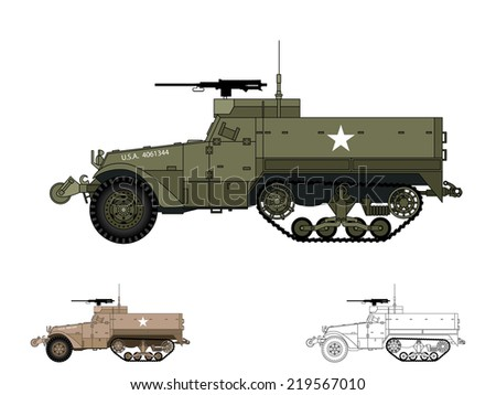 American WW2 AFV - stock vector