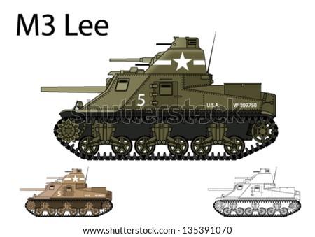 American WW2 M3 Lee medium tank - stock vector