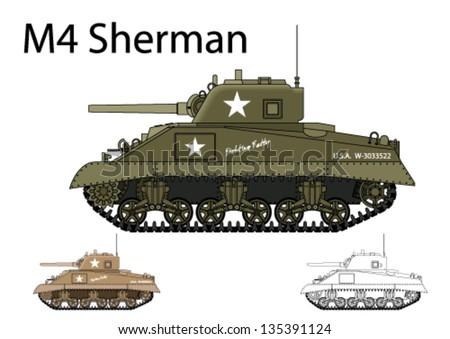 American WW2 M4 Sherman medium tank - stock vector