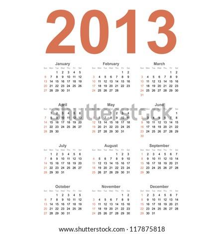 American 2013 year vector calendar - stock vector