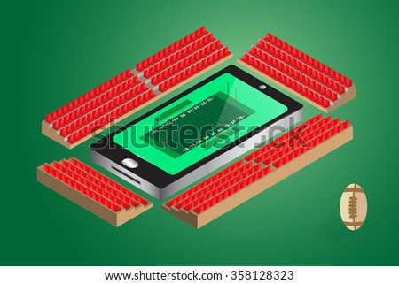 americanfootball watching online concept. stadium seat beside mobile phone , vector illustration