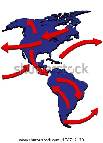 Americas Expansion Market Trade Routes Business Map 3D - stock vector