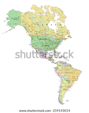 Americas - Highly detailed editable political map with labeling. - stock vector