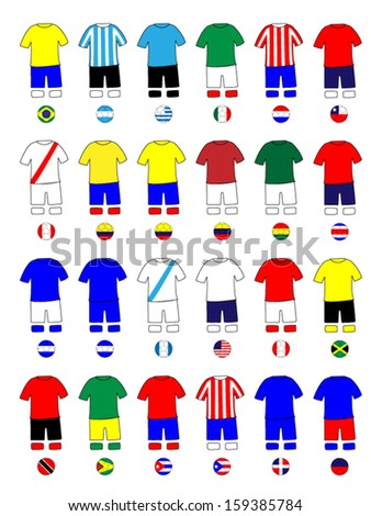 Americas Jerseys Football Kits - stock vector