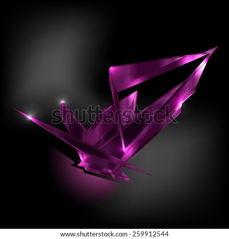 Amethyst dark shard crystal icon logo vector template - stock vector