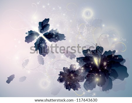 Amethyst Flowers like Butterflies / Surreal sketch - stock vector
