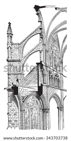 Amiens Cathedral, Cross section, vintage engraved illustration. Industrial encyclopedia E.-O. Lami - 1875. - stock vector