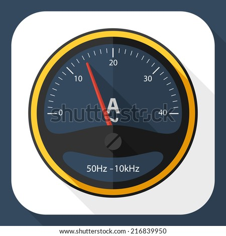 Ammeter icon with long shadow