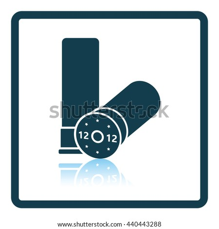 Ammo from hunting gun icon. Shadow reflection design. Vector illustration. - stock vector