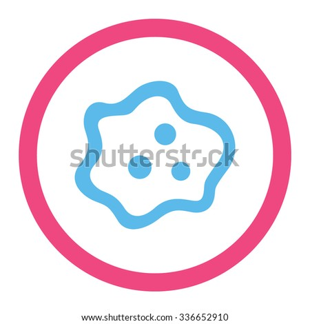 Amoeba vector icon. Style is bicolor flat rounded symbol, pink and blue colors, rounded angles, white background. - stock vector