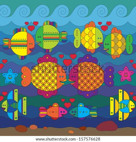 Amorous stylize fantasy fishes under water. - stock vector