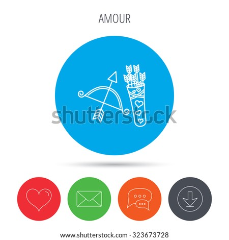 Amour arrows and bow icon. Valentine weapon sign. Mail, download and speech bubble buttons. Like symbol. Vector - stock vector