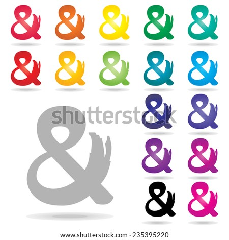 Ampersand icon set : colorful vector on white background : logo vector - stock vector