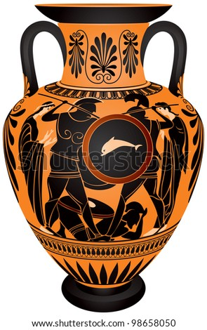 Amphora Ancient Greece Blackfigure Vase Painting Stock Vector