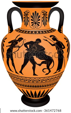 Amphora Hercules First Labor, Heracles Fighting the Lion, Hercules wrestling Lion, Ancient Greece ceramic pottery for the vine, Black figure vase painting style vector illustration - stock vector