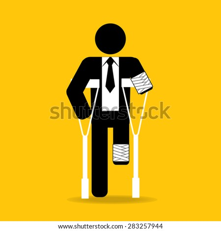 amputated injured cartoon businessman in bandage with crutches : be careful prevent accidents : safety health concept on yellow background vector - stock vector