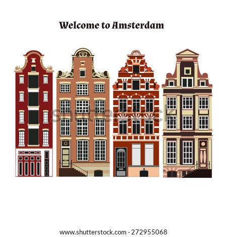 Amsterdam buildings. Holland architecture - stock vector