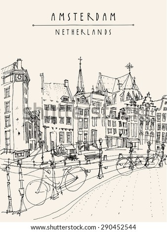 Amsterdam city architecture, bridge, bicycles. City skyline, traditional old houses. Vector retro illustration. Travel touristic poster, postcards, greeting cards template. Hand drawn vintage sketch