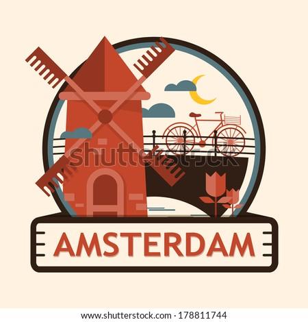 Amsterdam city badge, Netherlands, Holland - stock vector