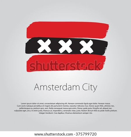 Amsterdam City Flag with colored hand drawn lines in Vector Format - stock vector