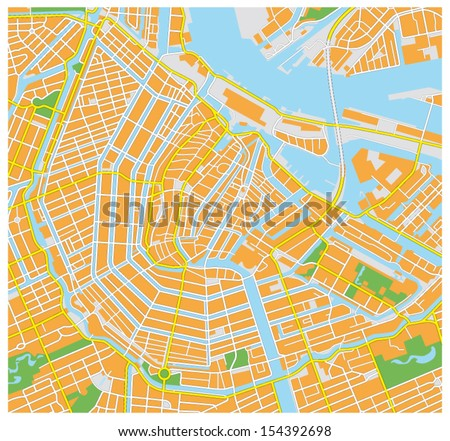 amsterdam city map - stock vector