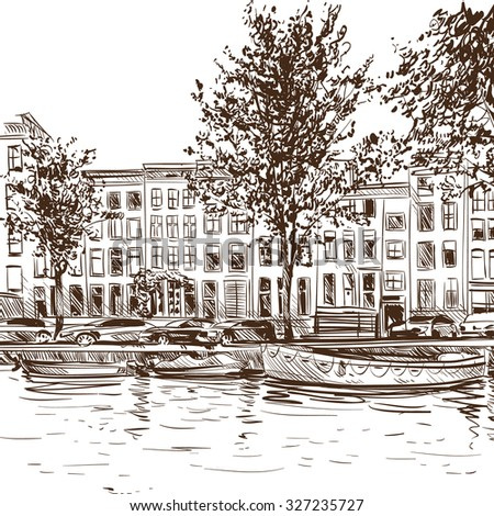 Amsterdam hand drawn, city sketch vector illustration