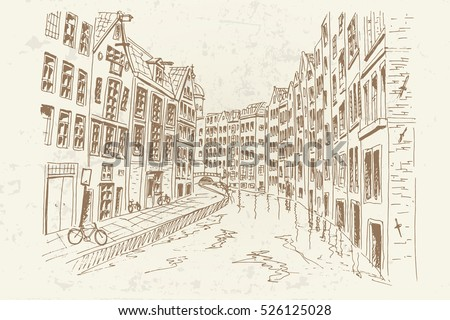 Amsterdam, Holland, Netherlands. Vector sketch.