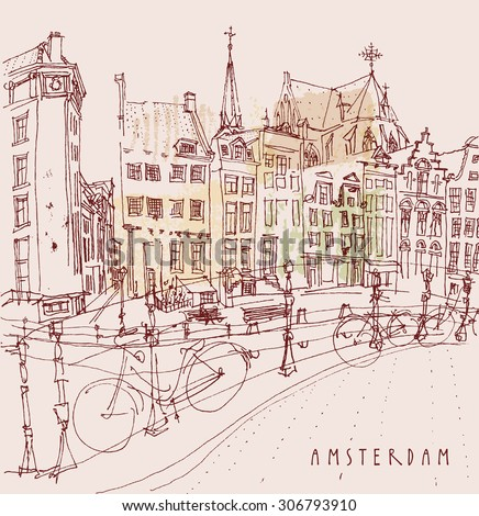 """Amsterdam, Holland, Netherlands. View of old center with bicycles. Dutch historical buildings. Colored freehand drawing isolated vector. Travel postcard template with """"Amsterdam"""" hand lettering - stock vector"""