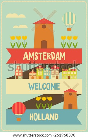 Amsterdam. Holland Retro Card with Windmill and Tulips. Vector Illustration. - stock vector