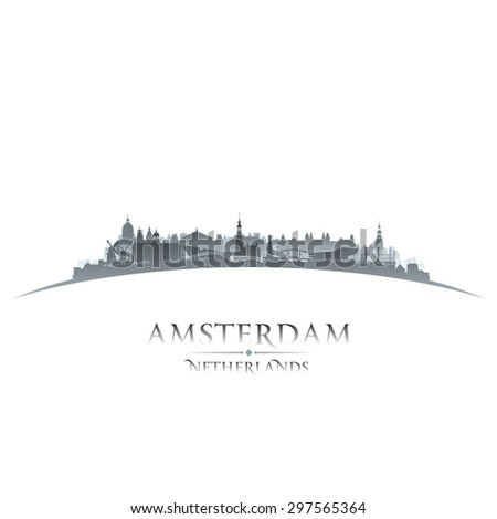 Amsterdam Netherlands city skyline silhouette. Vector illustration - stock vector