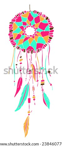 Amulet Dream catcher. Hand drawn illustration. Native american indian dream catcher, traditional symbol