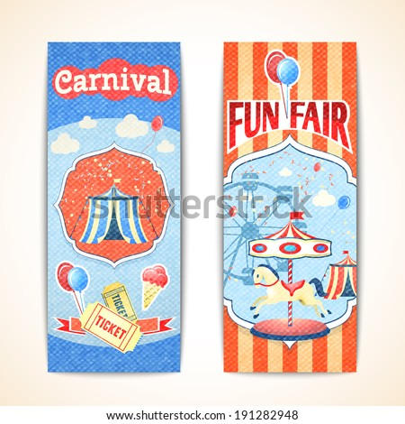 Amusement entertainment carnival theme park fun fair vintage vertical banners isolated vector illustration - stock vector