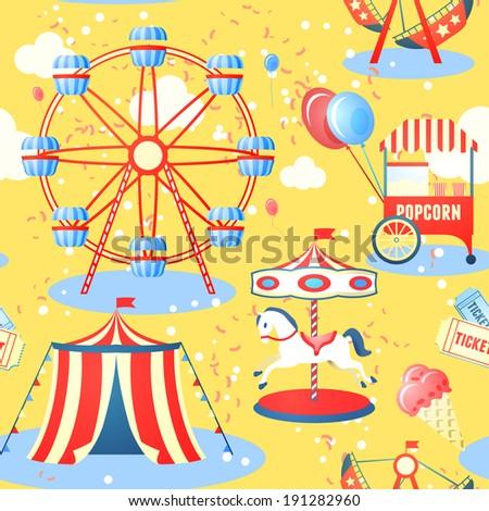 Amusement entertainment park seamless pattern with ferris wheel ice cream popcorn vector illustration - stock vector