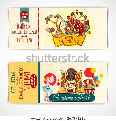 Amusement fun festival park tickets hand drawn set isolated vector illustration - stock vector