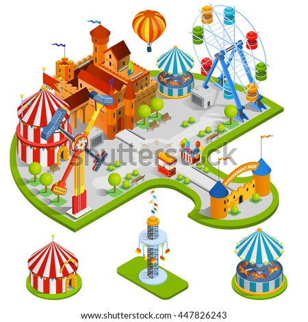 Amusement kids park isometric composition with medieval castle ferris wheel carousel circus tent in cartoon style vector illustration - stock vector