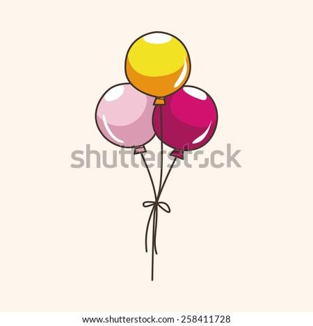 Amusement park balloons theme elements - stock vector