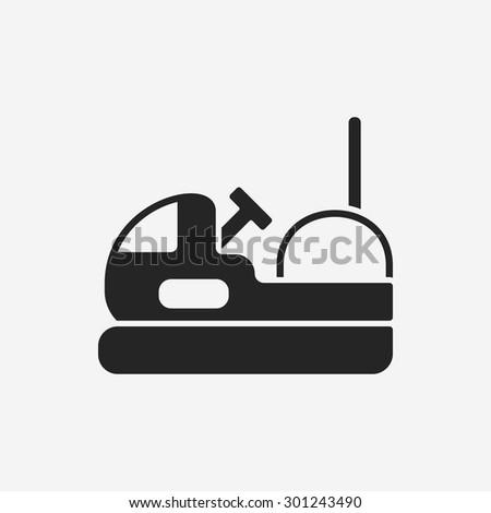 amusement park bumper cars icon - stock vector