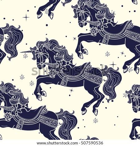 Amusement Park Carousel Horses Seamless Pattern In Duotone Colors