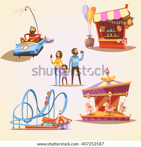Amusement park cartoon set with retro style attractions isolated vector illustration - stock vector