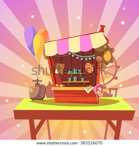 Amusement park cartoon with shooting gallery with prizes on abstract background retro style vector illustration