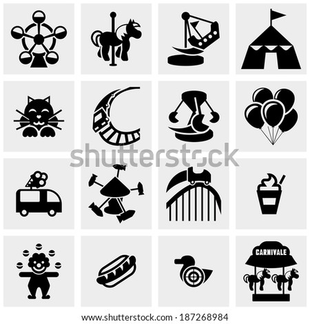 Amusement Park, circus vector icons set on gray  - stock vector