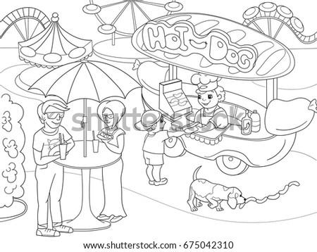 Amusement Park Coloring Pages Children Hot Stock Vector 675042310