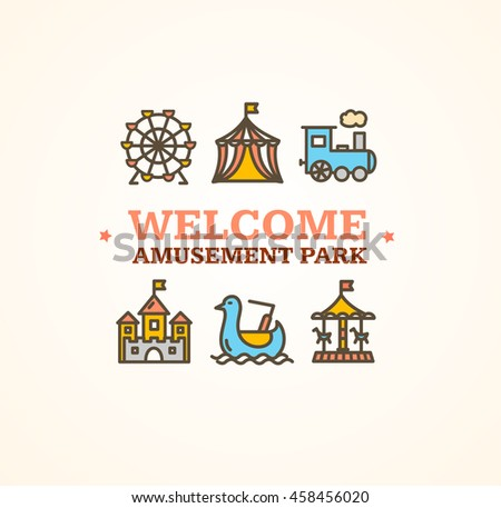 Amusement Park Embleme with Inscription Can Be Used for Cards, Posters. Vector illustration - stock vector