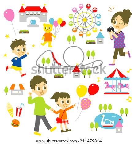 Amusement park, family - stock vector