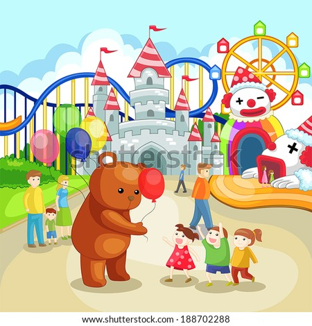 Amusement park for children in summer holiday, create by vector  - stock vector